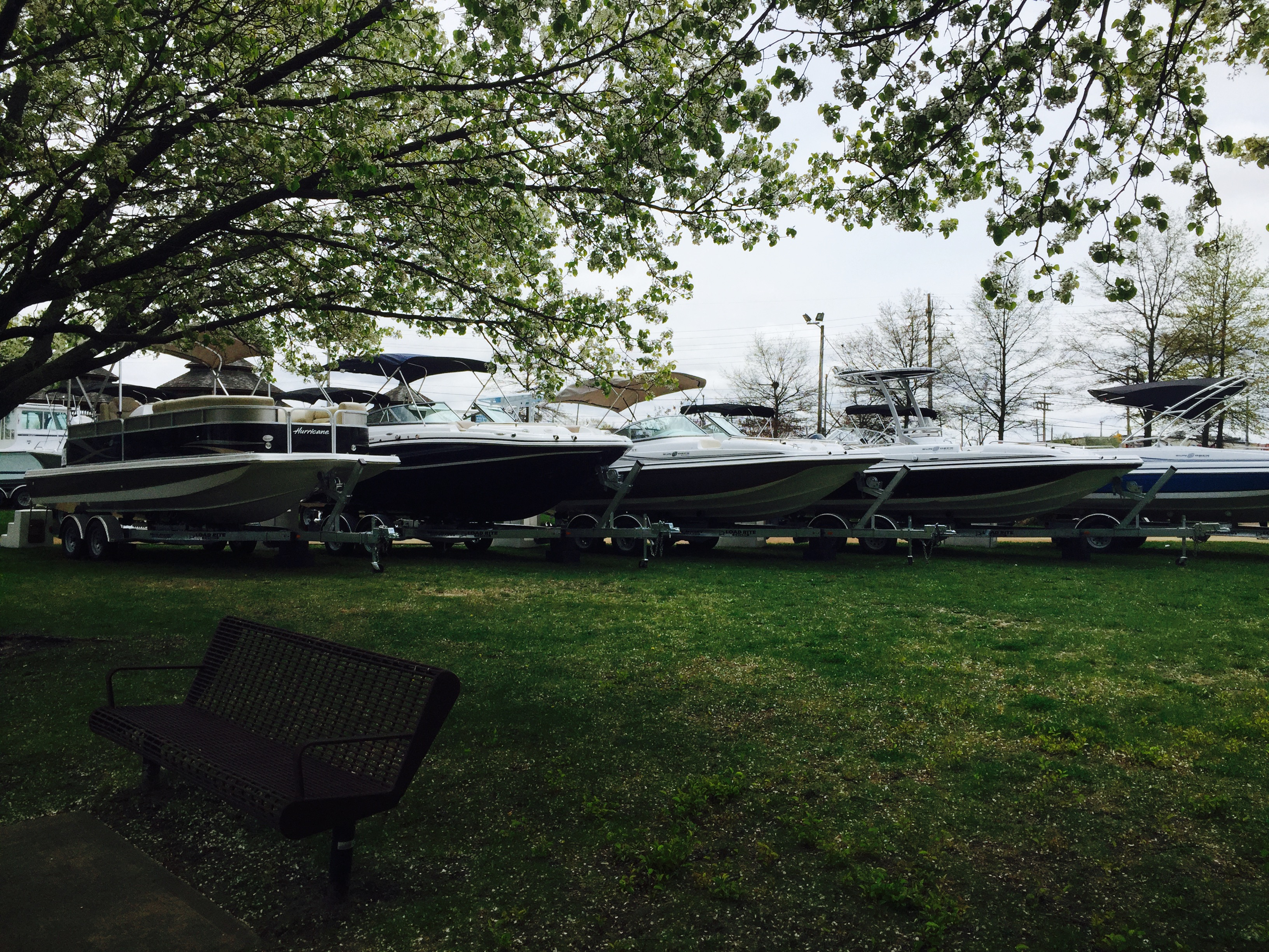 The hurricane deck boats line at the spring 2015 huddy boat show