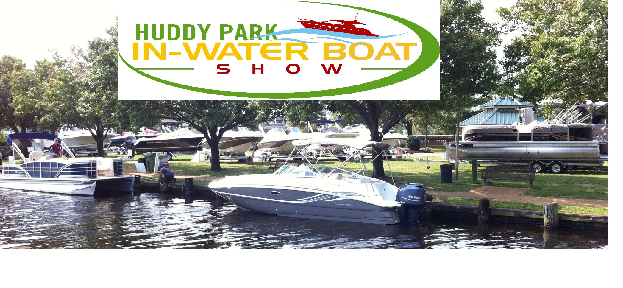 Our original huddy park in water boat show header and logo