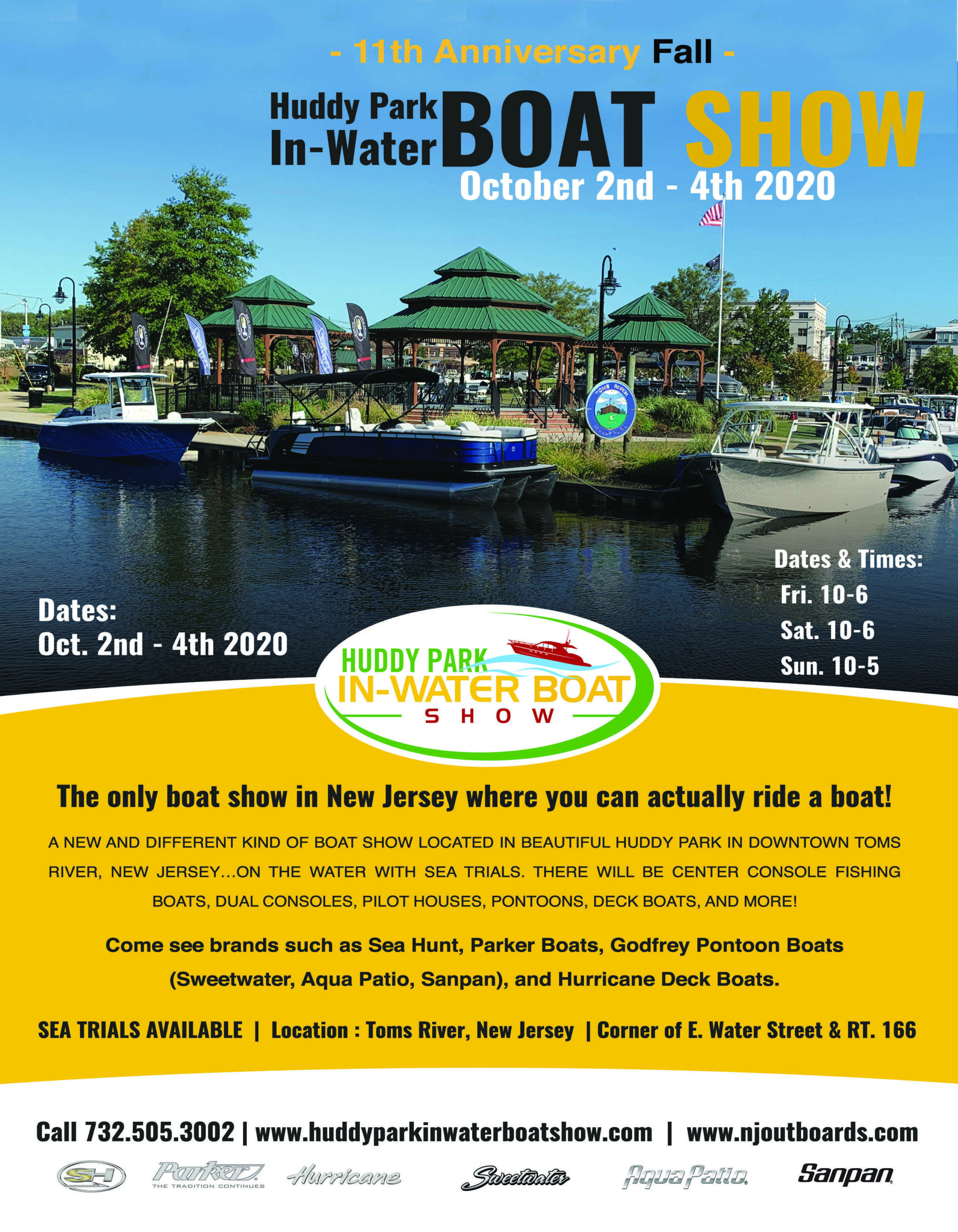 11th Fall Huddy Park In Water Boat show Flyer